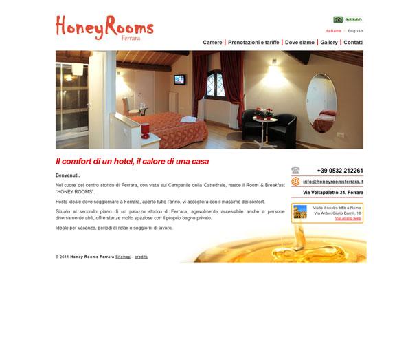 Honey Rooms Ferrara. Realizzazione sito web