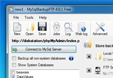 Software per backup database mysql